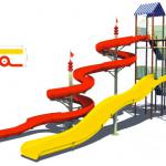Fiberglass water park slide water game toys